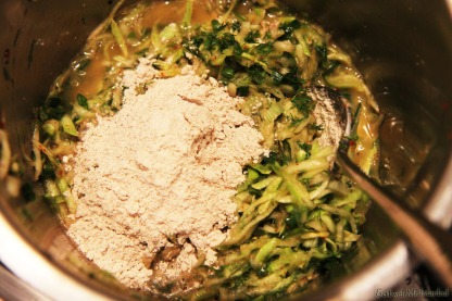 zucchini fritter-making