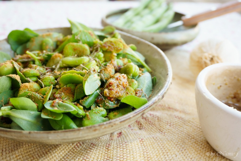 fava purslane salad